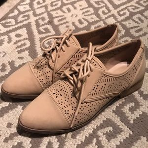 Tan Cut Out Oxford Shoes
